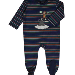 Woody romper unisex. Multicolor gestreept, glow in the dark print van de geit.