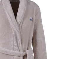 Woody heren kamerjas in fleece. Beige met lint
