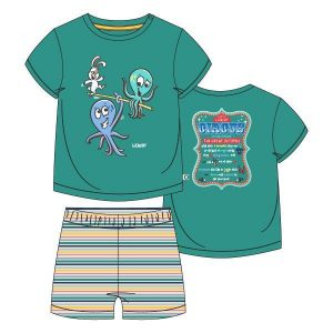 Woody unisex pyjama kort. Groen met glow in the dark print van de octopus, strepen short.