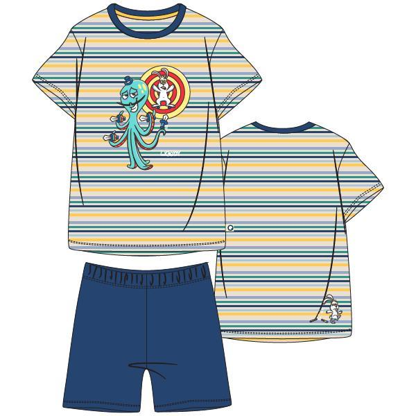 Woody heren pyjama kort. Multicolor met glow in the dark print van de octopus, blauwe short.