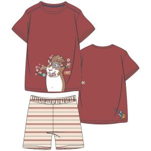 Woody heren pyjama kort. Donkerrood met glow in the dark print van de cavia. Gestreepte short.